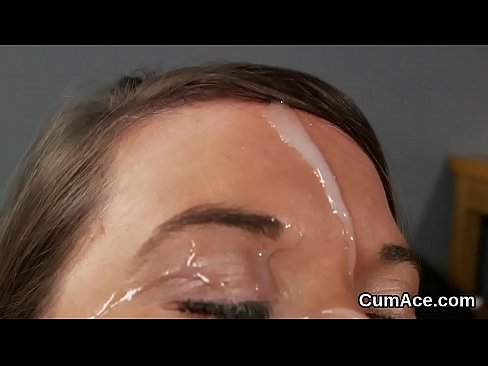 Spicy idol gets cum shot on her face sucking all the load