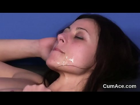 Unusual babe gets sperm load on her face eating all the semen